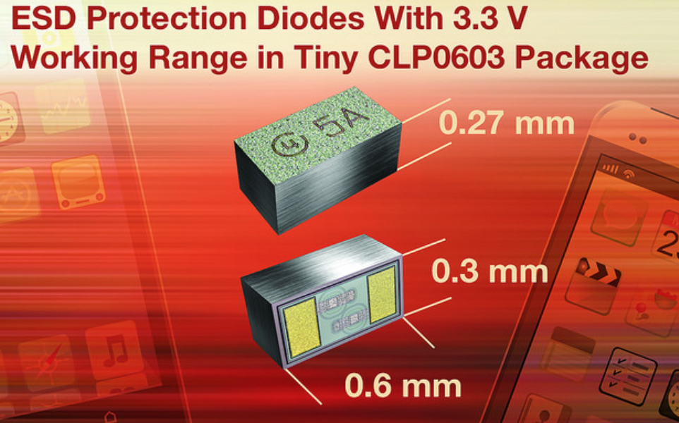 Vishay Intertechnology's BiSy Single-Line ESD protection diodes feature low working range to 3.3 V