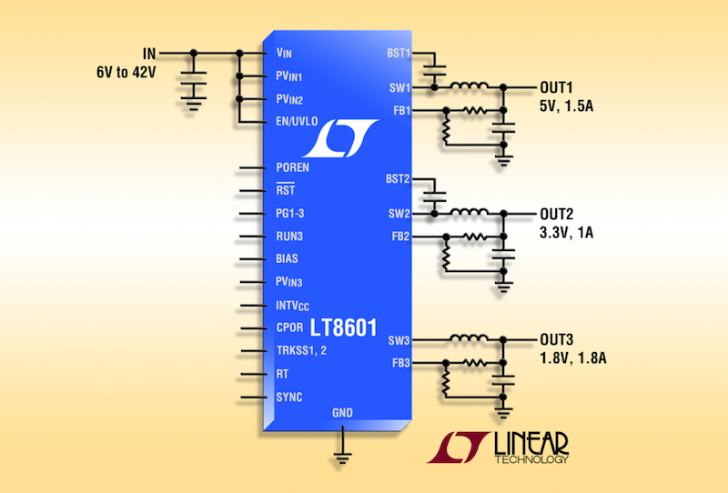 Linear's 42V latest triple synchronous step-down converter delivers 93% efficiency