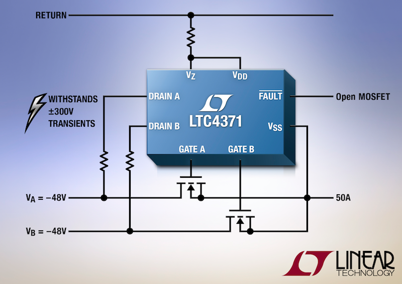 Linear's high-power negative supply ideal diode-OR controller withstands �300V transients