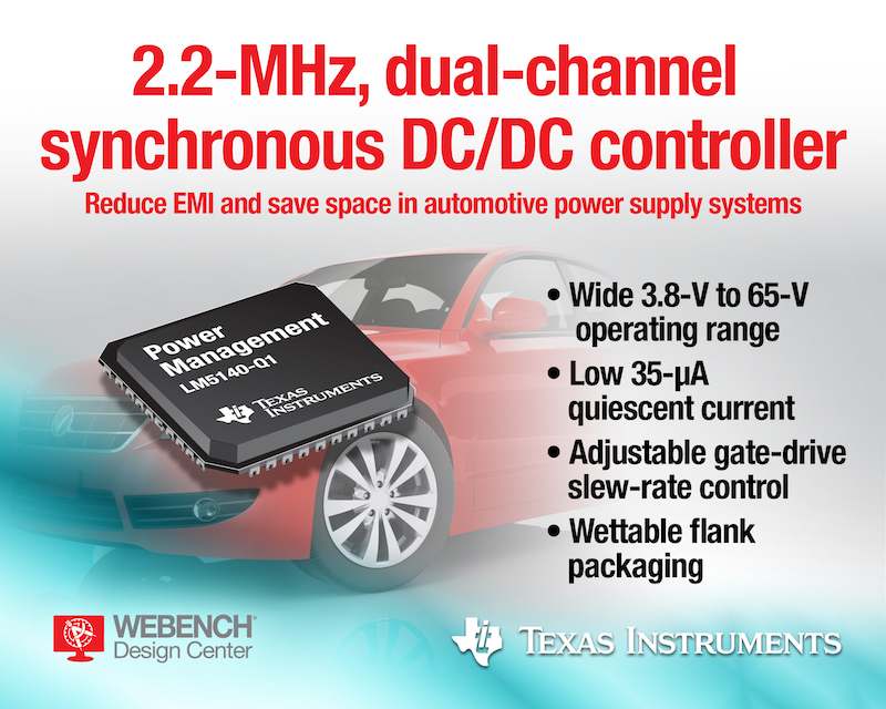 TI's innovative wide-VIN DC/DC controller claims industry's highest 65-V operation