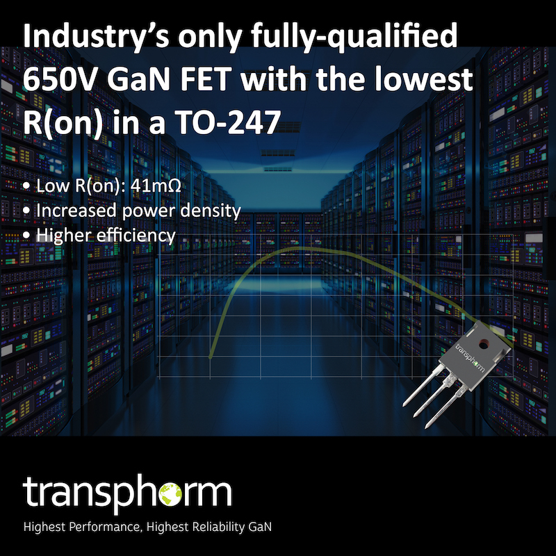 Transphorm claims industry's first fully-qualified 650V GaN FET with the lowest R(on) in a TO-247