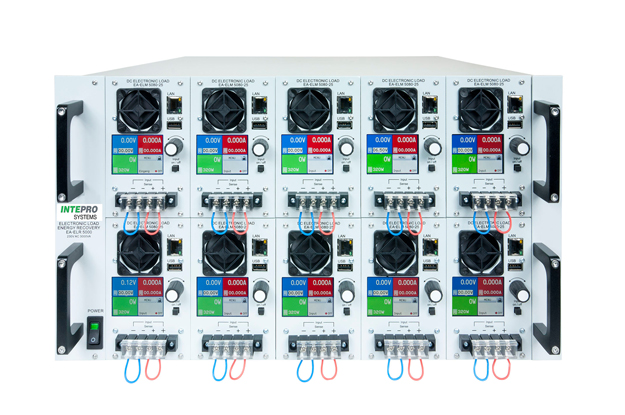 Intepro's energy-recovering rack-mount DC load system features plug-in programmable modules