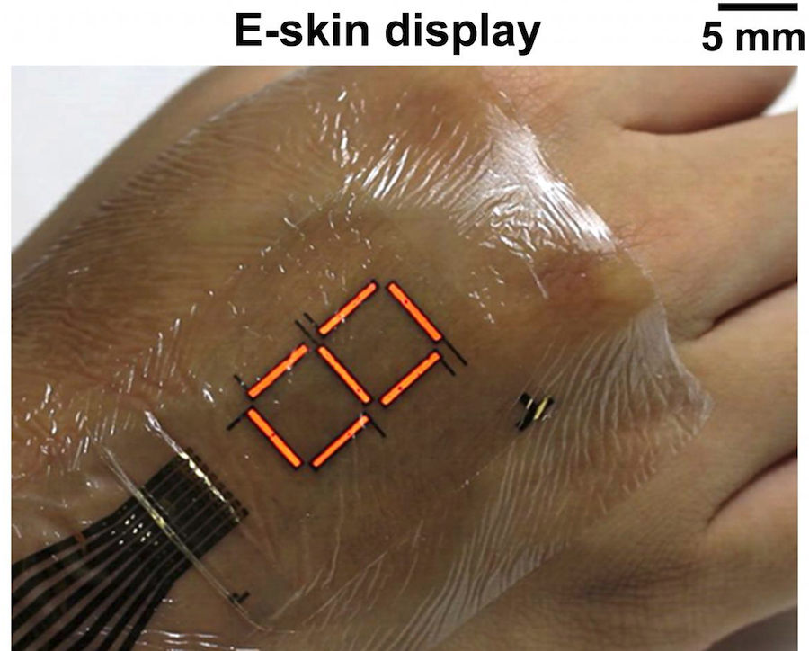 Ultrathin organic material empowers e-skin display