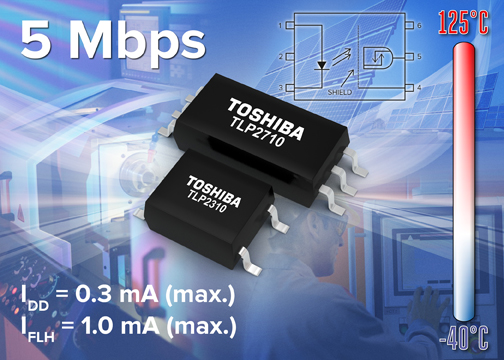 Toshiba's photocouplers offer 5Mbps communication with very low power consumption
