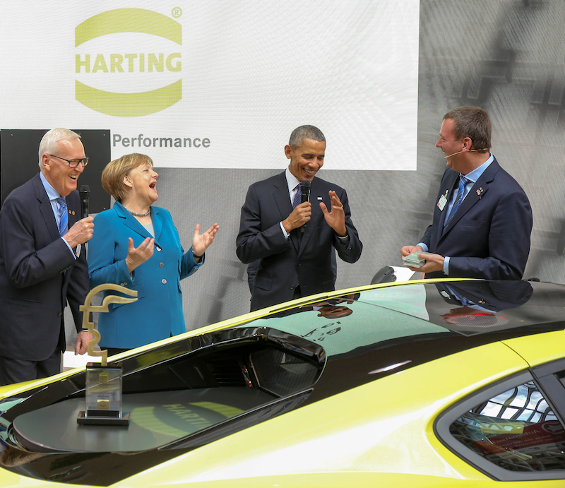 US President Obama and Chancellor Merkel visit HARTING at Hannover Fair