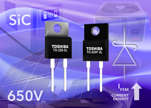 Toshiba's 2nd-gen SiC Schottky diodes significantly improve current density and surge current ratings