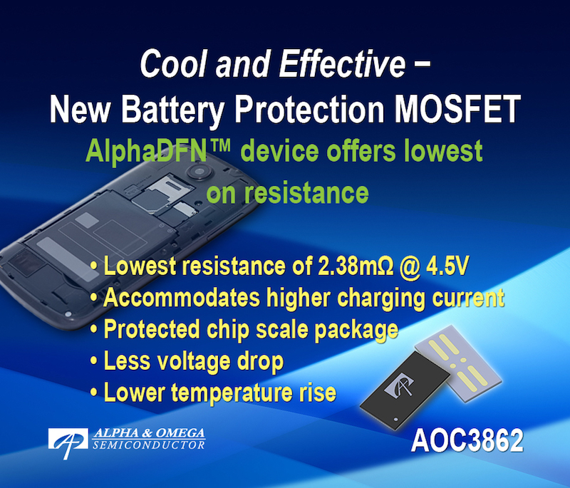 Alpha and Omega Semi now offers 2.38 mOhm device for battery protection