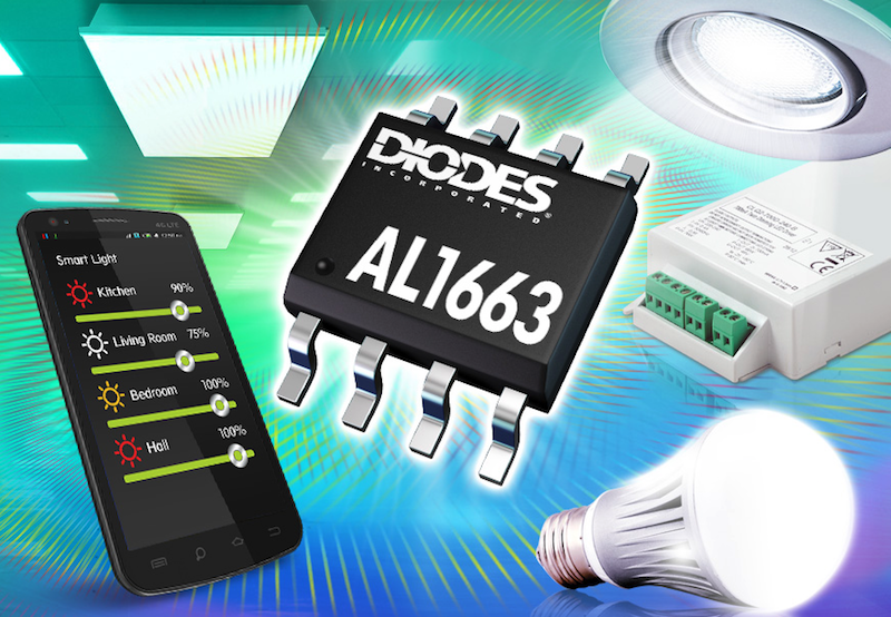Diodes' dimmable LED controllers drive up to 150W with high power factor
