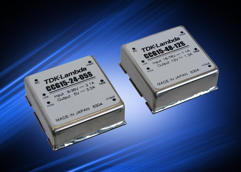 TDK's wide-input-range 15W DC-DC converters have six-sided shielding