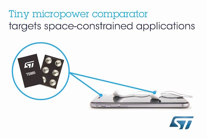 STMicroelectronics addresses board space with tiny micropower rail-to-rail comparator