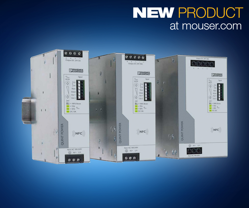 Phoenix Contact's DIN-Rail QUINT4 power supplies now at Mouser