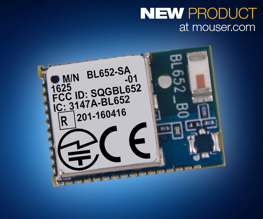 Mouser now stocks Laird's BL652 BLE and NFC module