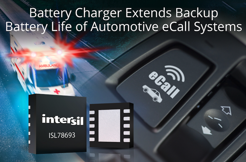 Intersil charger extends backup battery life of eCall systems