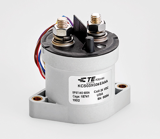 TE Connectivity's KILOVAC current-sensing high-voltage contactor offers current-trip function