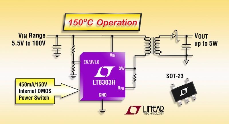 Linear's 100V no-opto flyback regulator delivers 5W in SOT-23 package