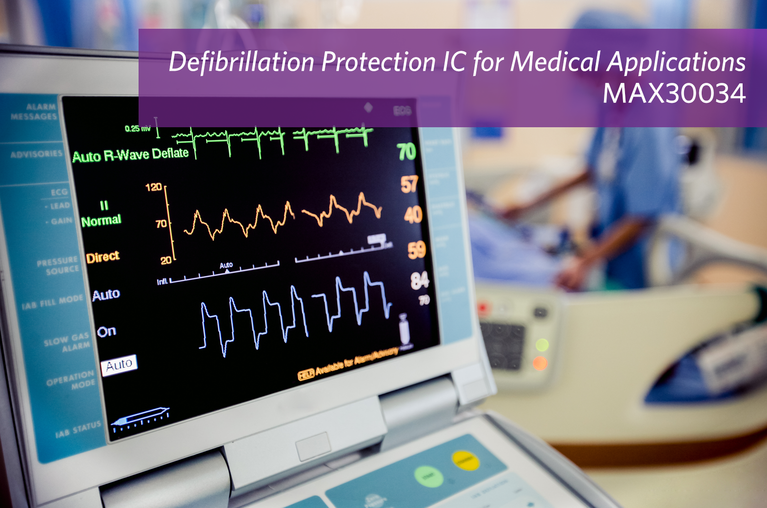 Maxim's defibrillation and ESD protection device safeguards medical devices