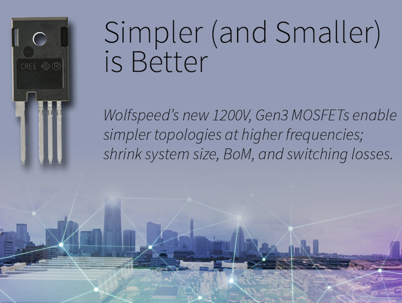 Wolfspeed expands third-gen MOSFET platform to 1200V