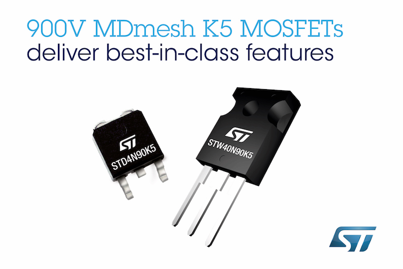 ST Micro's latest 900V MOSFETs enhance power and efficiency