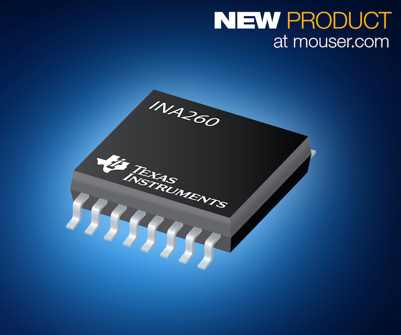 TI's INA260 high/low-side digital current and power monitor now at Mouser