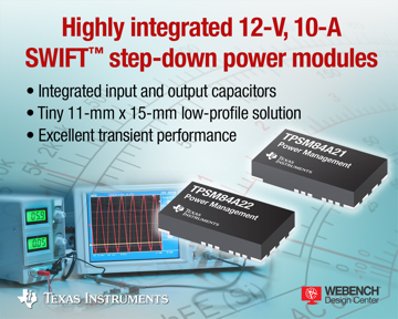 TI claims smallest 12V, 10A DC/DC step-down power solution