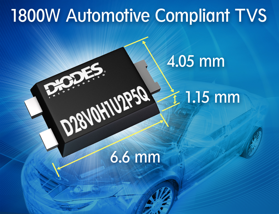 Industry-First 1800W Auto-Compliant Transient Voltage Suppressor Launched by Diodes Incorporated