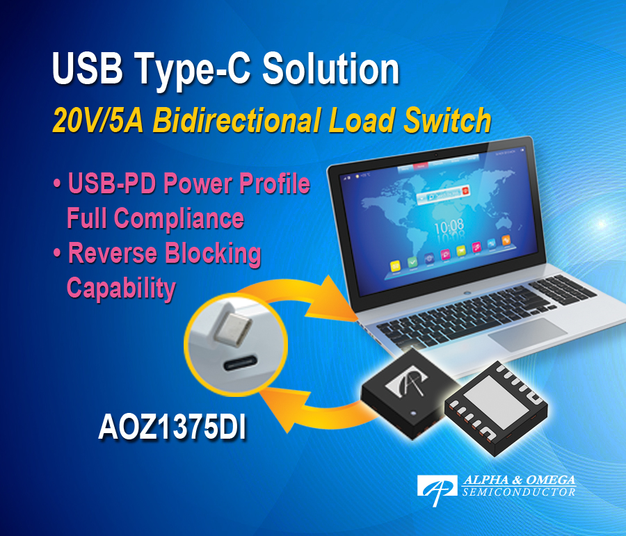 Alpha and Omega Semiconductor Introduces First USB Type-C Load Switch