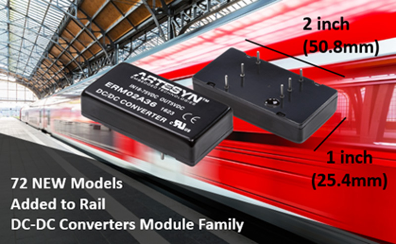 Artesyn Adds 72 New Models to Rail DC-DC Converter Module Family