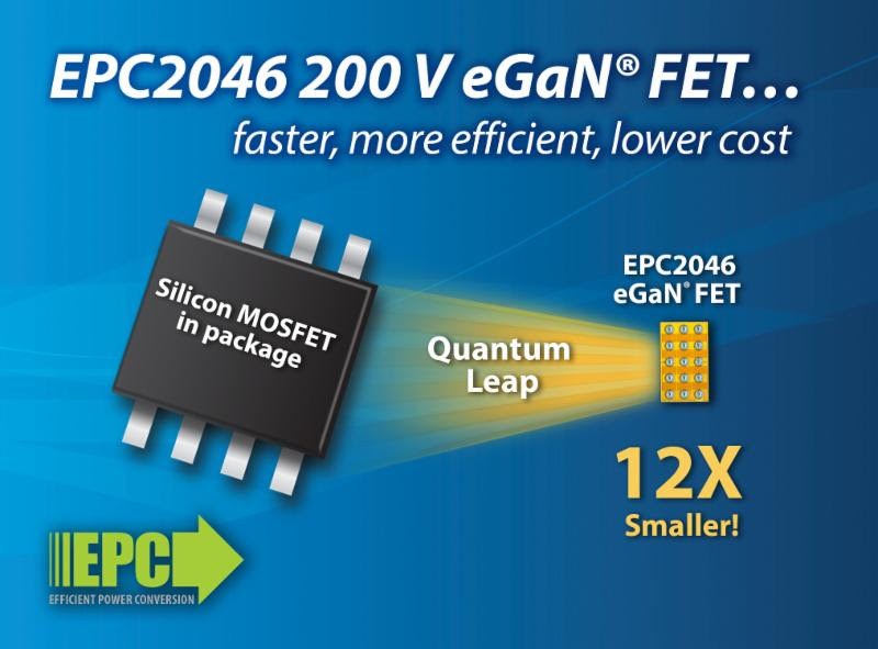 Efficient Power Conversion (EPC) Introduces 200 V Gallium Nitride Power Transistor 12 Times Smaller Than Equivalently Rated MOSFETS