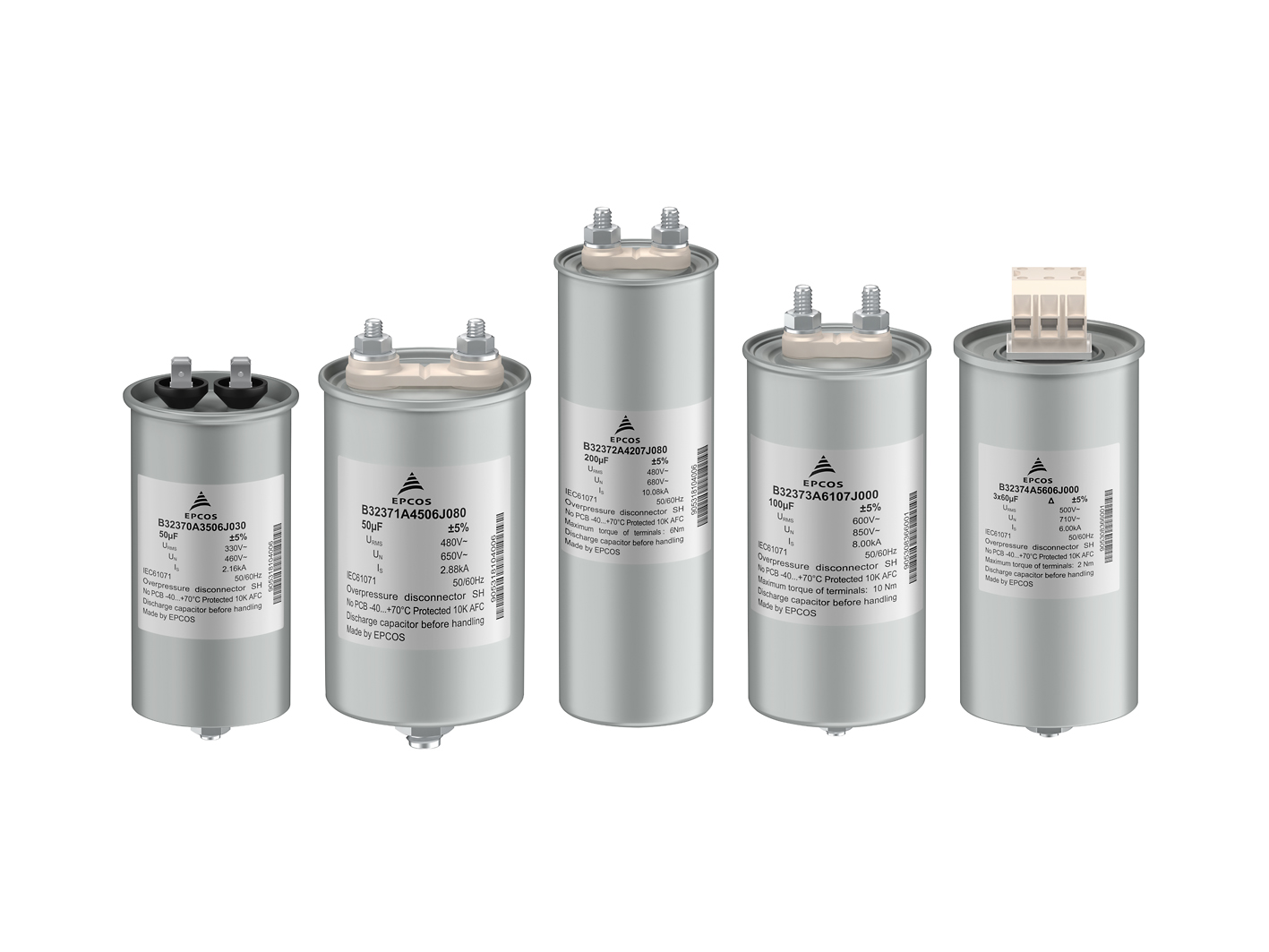 Single-Phase Power Capacitors Designed for Rated AC Voltages of Between 250 Vrms and 600 Vrms