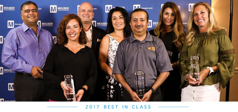Mouser Electronics Recognizes 2017 Best-in-Class Award Winners