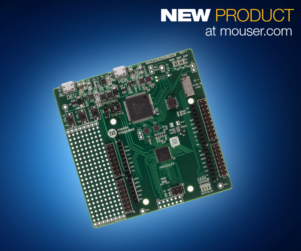 Mouser Now Shipping Maxim's MAX32625MBED Mbed-Enabled Development Platform
