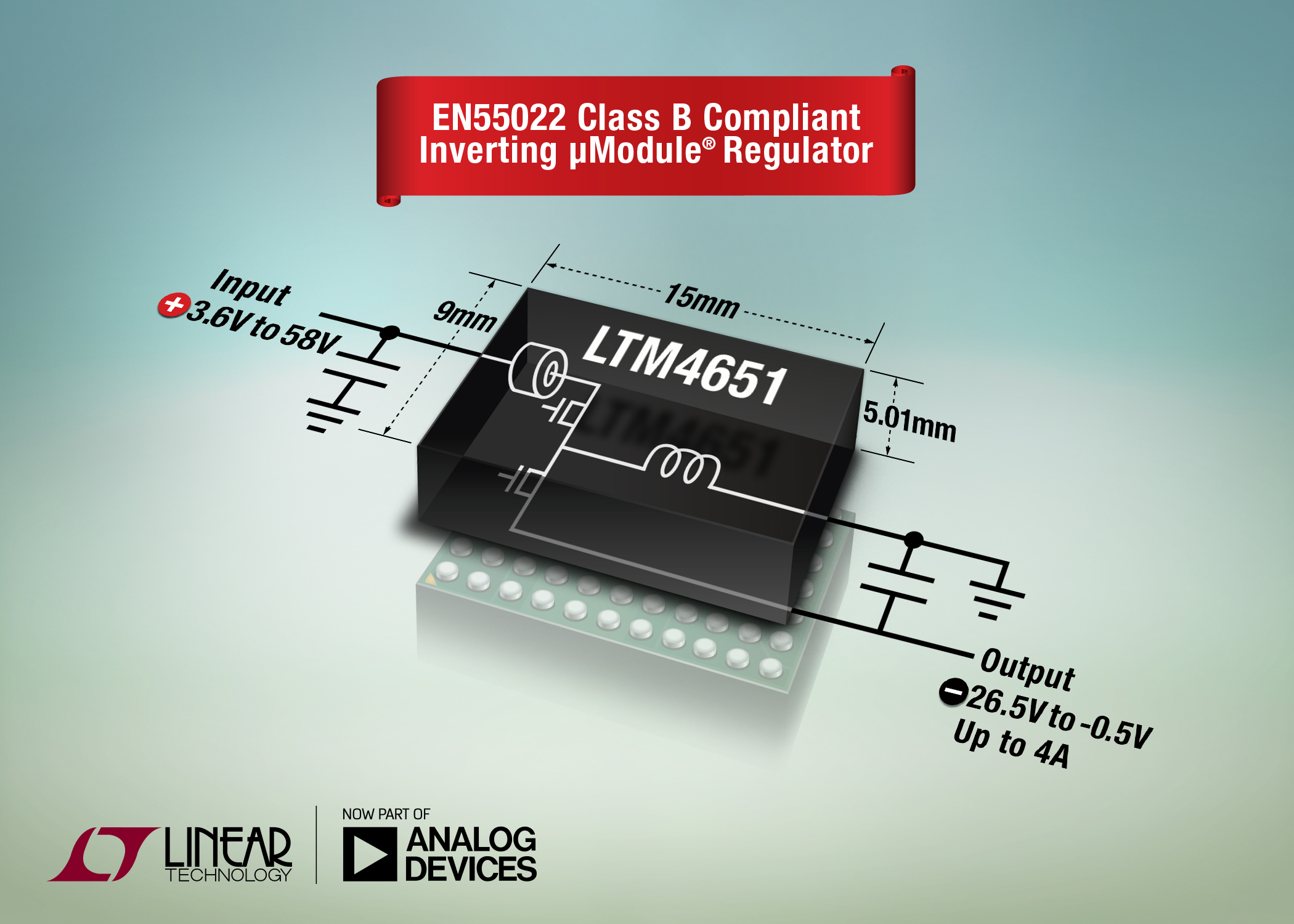 24W Inverting µModule Regulator Is EN55022 Class B Compliant
