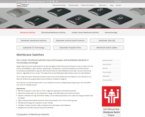 Updated Web Presence for Potentiometers, Membrane Switches, Sensors, and More