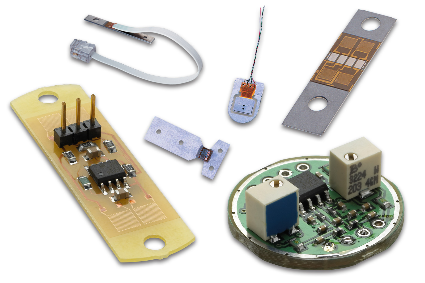 Miniature, Lightweight Hybrid Sensors Designed for Force, Displacement, Pressure, Strain, and Acceleration Measurements