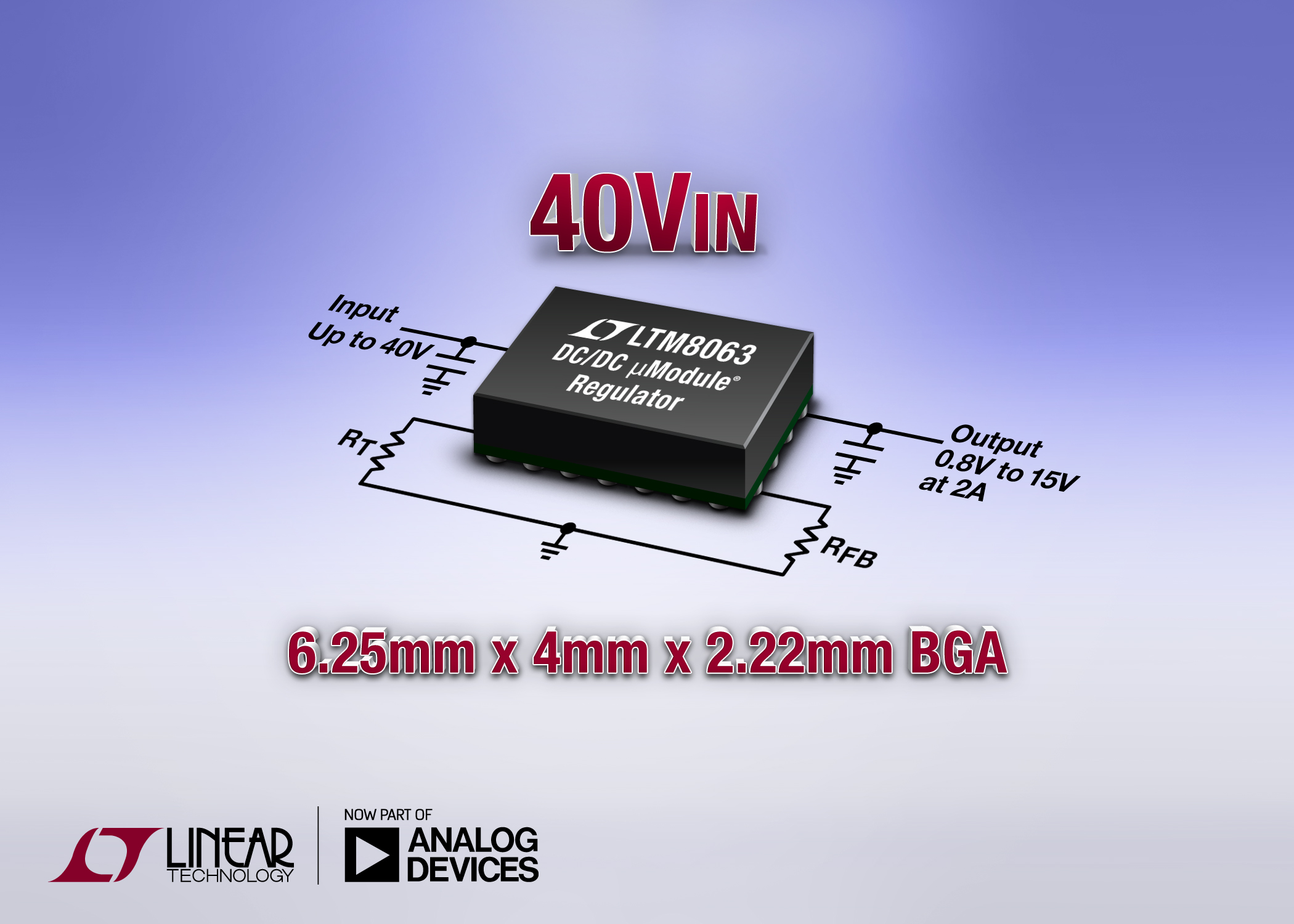 40VIN, 2A Silent Switcher ÂμModule Regulator in 6.25mm x 4mm BGA Package