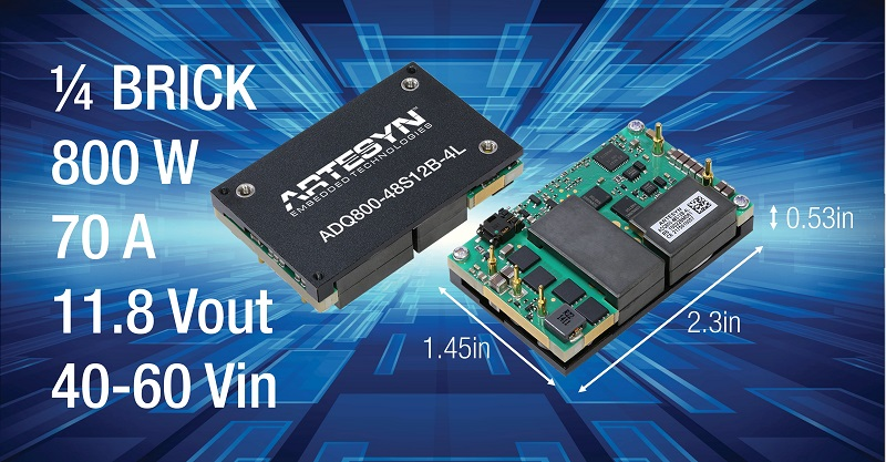 New Artesyn 800W Quarter Brick DC-DC Converter Provides High Efficiency and Thermal Performance for Telecom, Computing and Server Equipment