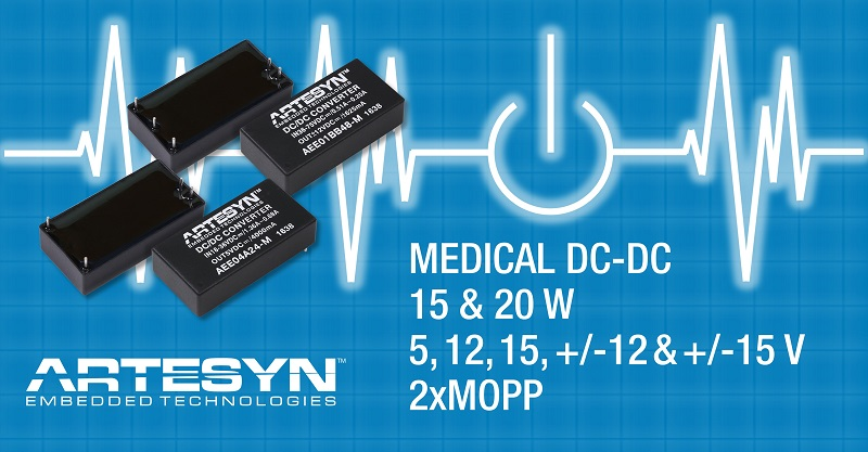 New Artesyn Embedded Technologies 15 W and 20 W DC-DC Converters Feature Medical Safety Approvals