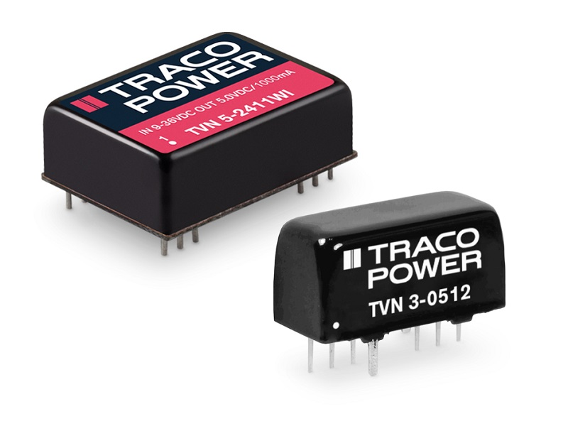 TRACO POWER's TVN Series of isolated and fully regulated DC/DC converters combine a high level of efficiency with a low level of output ripple & noise