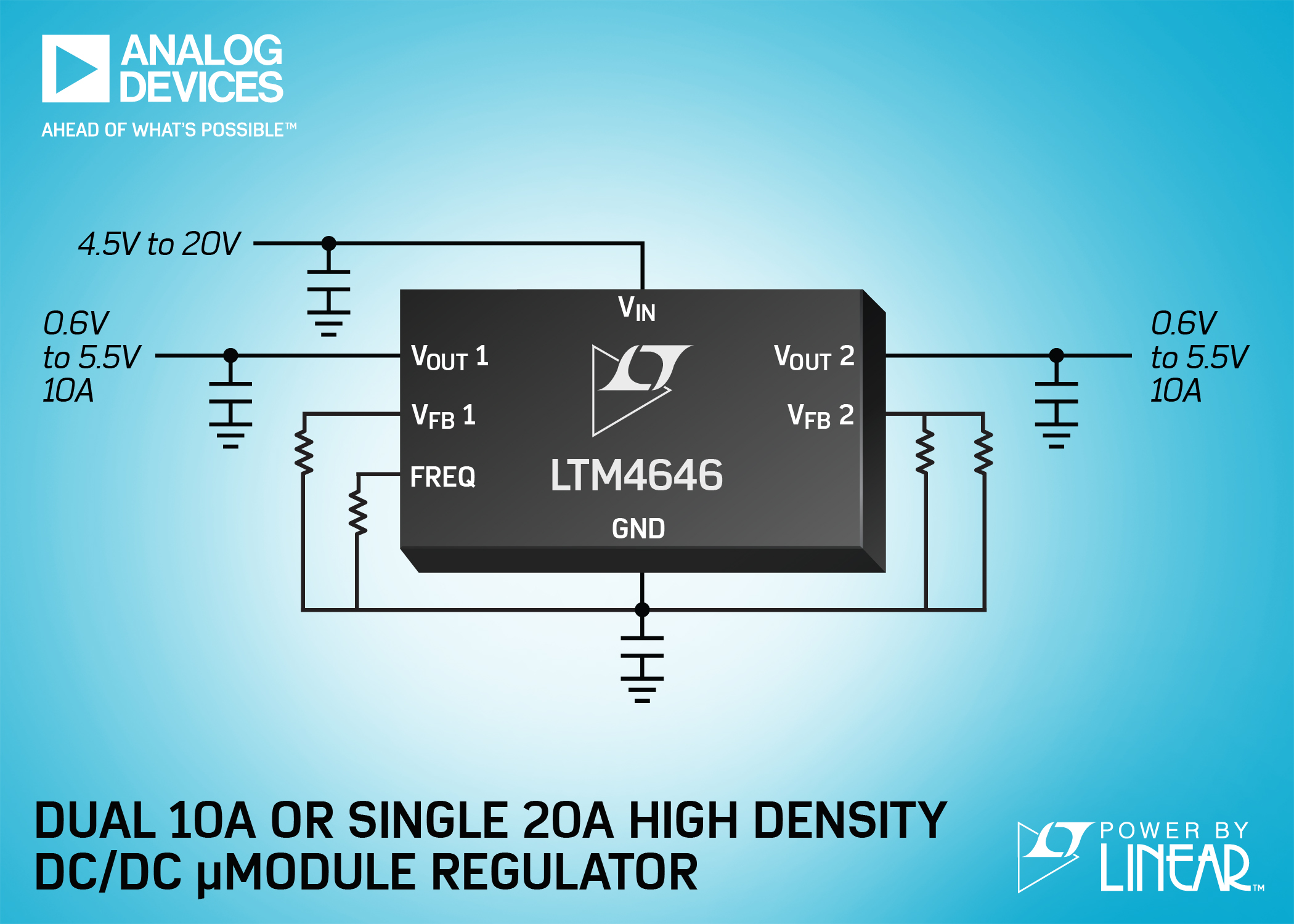 Compact Dual 10A or Single 20A μModule Regulator Powers FPGAs, GPUs, ASICs, & System Power