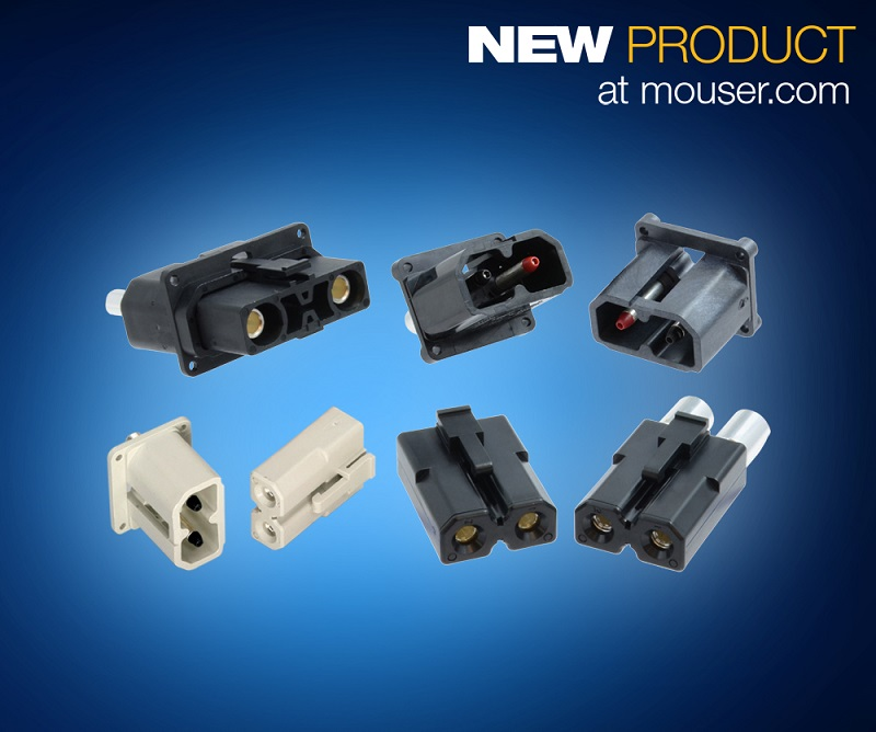 Now at Mouser: Amphenol Industrial Amphe-PD Series Connectors Distribute High Currents with Less Heat