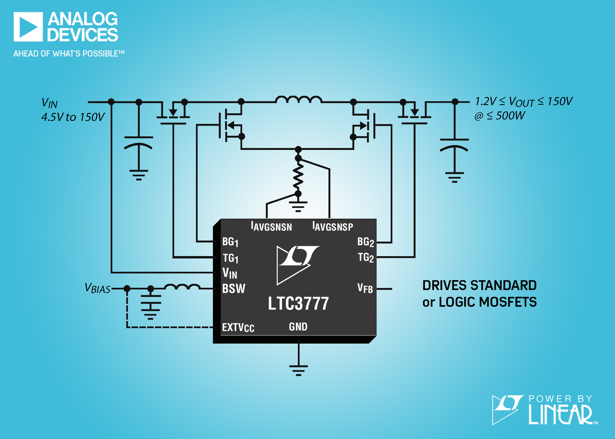 4-Switch Buck-Boost Controller Features Integrated Switching Bias Supply