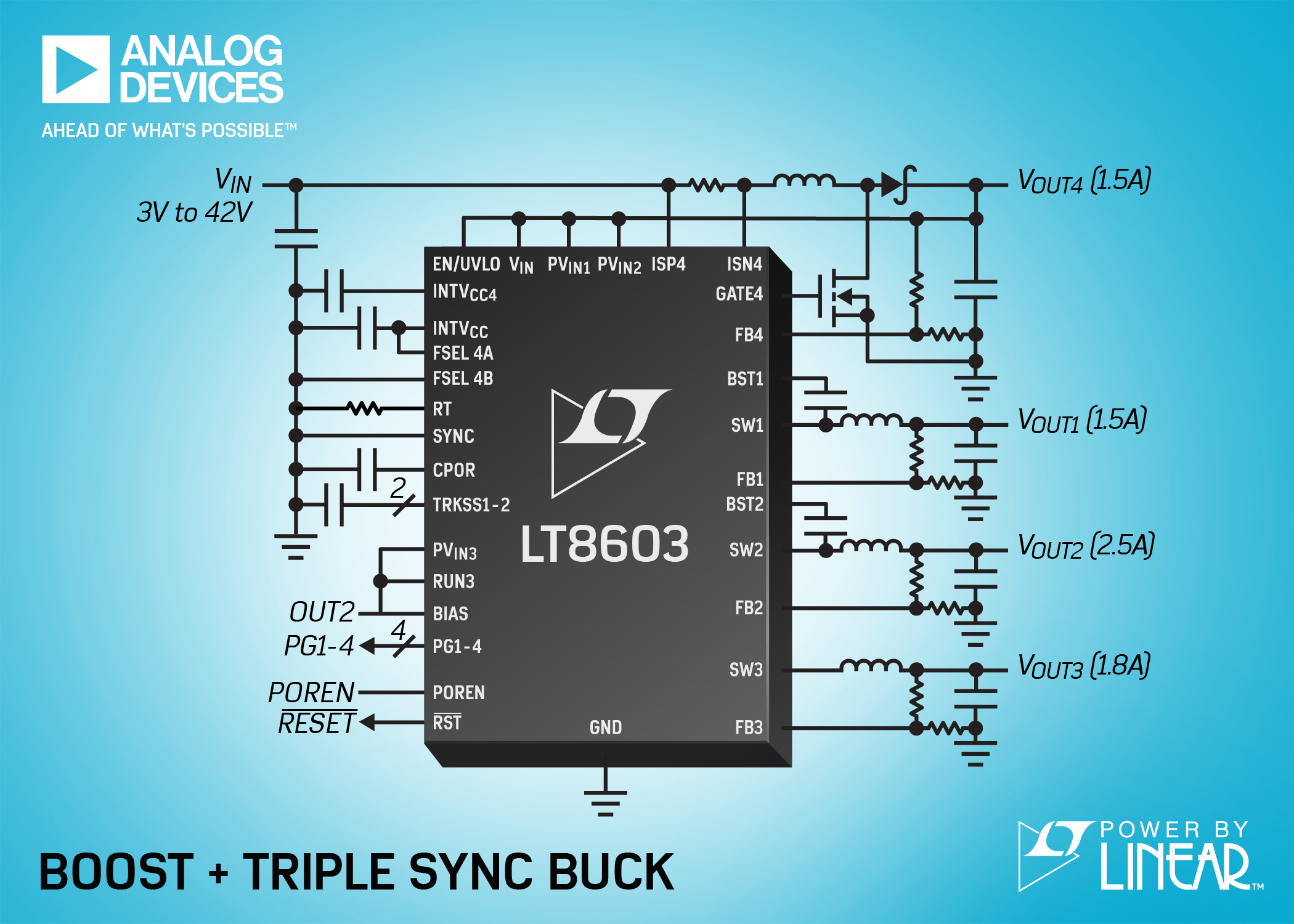 42V Quad Output, Triple Monolithic Synchronous Buck Converter & Boost Controller Operates from 3V to 42V Inputs