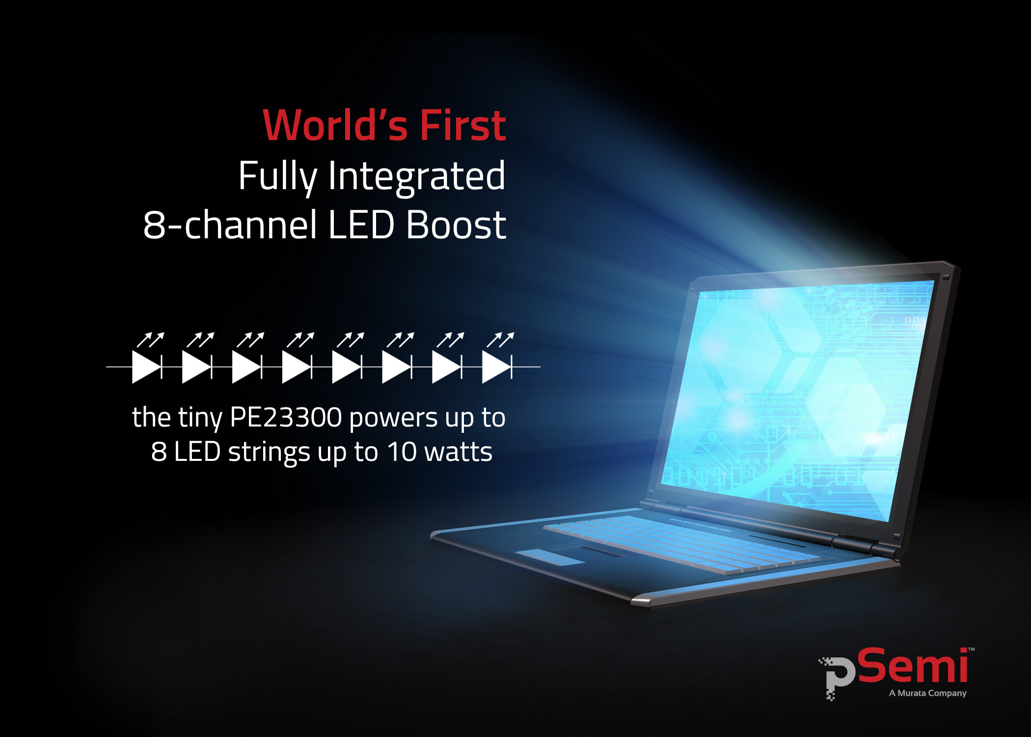 The World's First, Fully Integrated, 8-channel LED Boost Power Supply