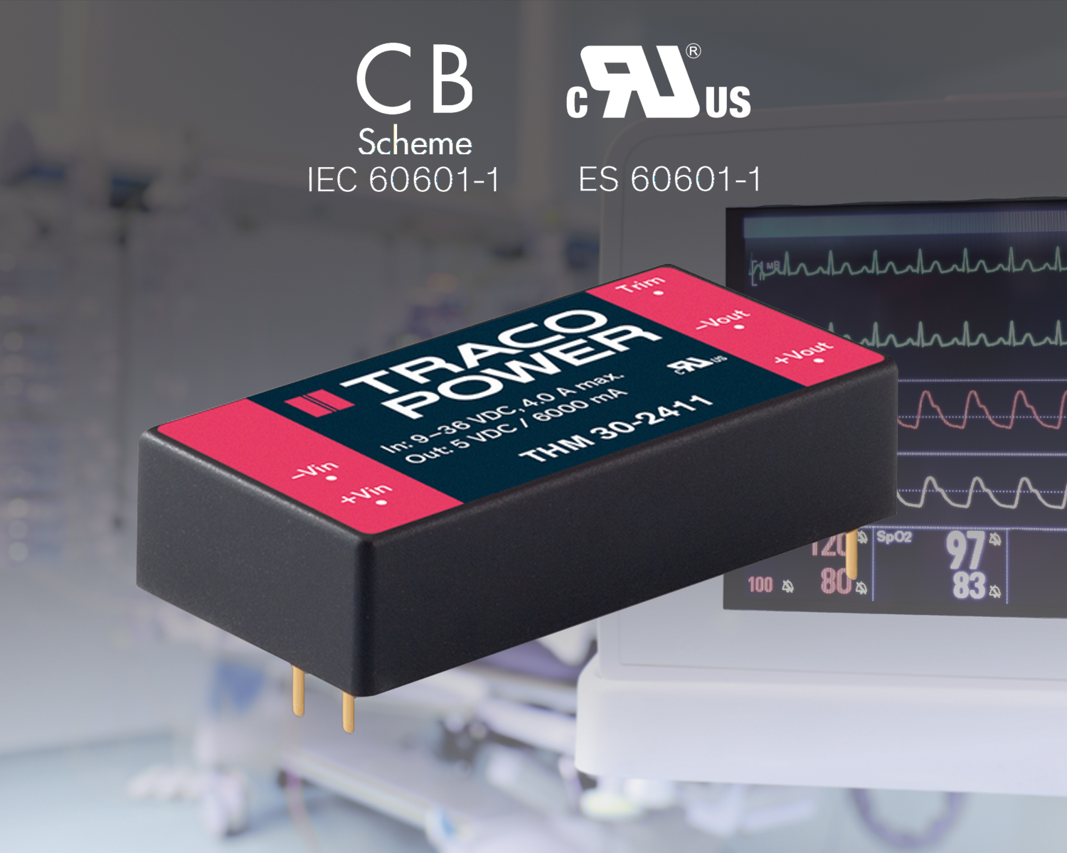 30 Watt Medical DC-DC Converter Features Wide 2:1 Input Range in 1x2'' Footprint