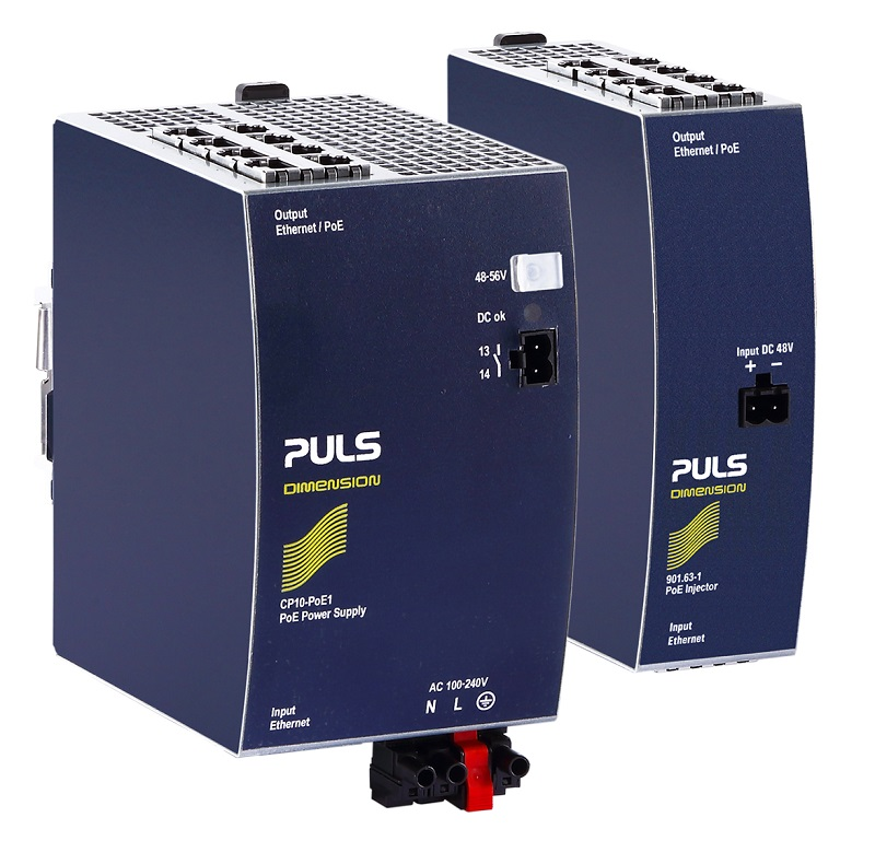 New PULS 8-port DIN-Rail PoE Injectors available with integrated premium power supply or as stand-alone device