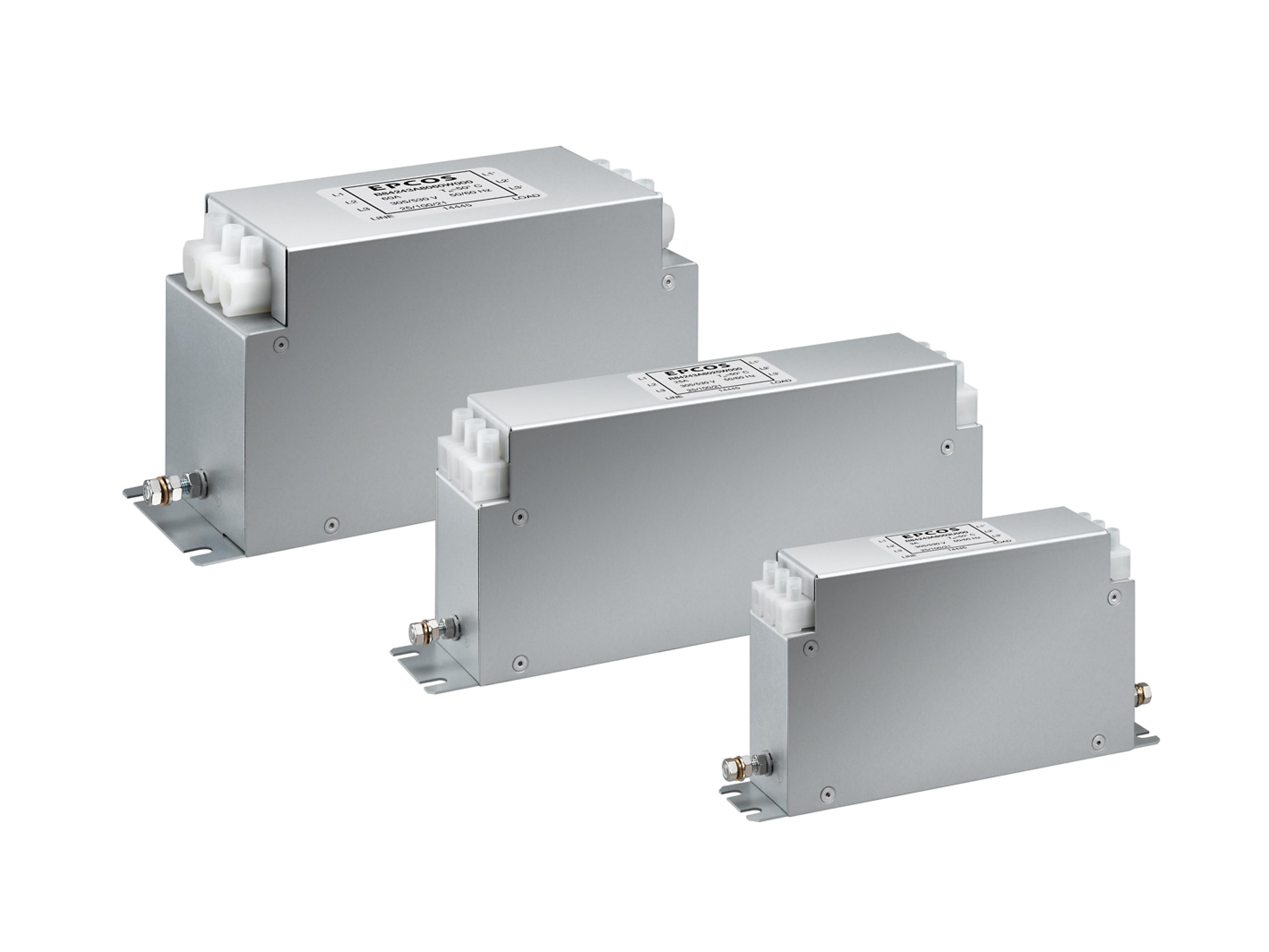3-line EMC Filters Satisfy Current Requirements up to 280 A