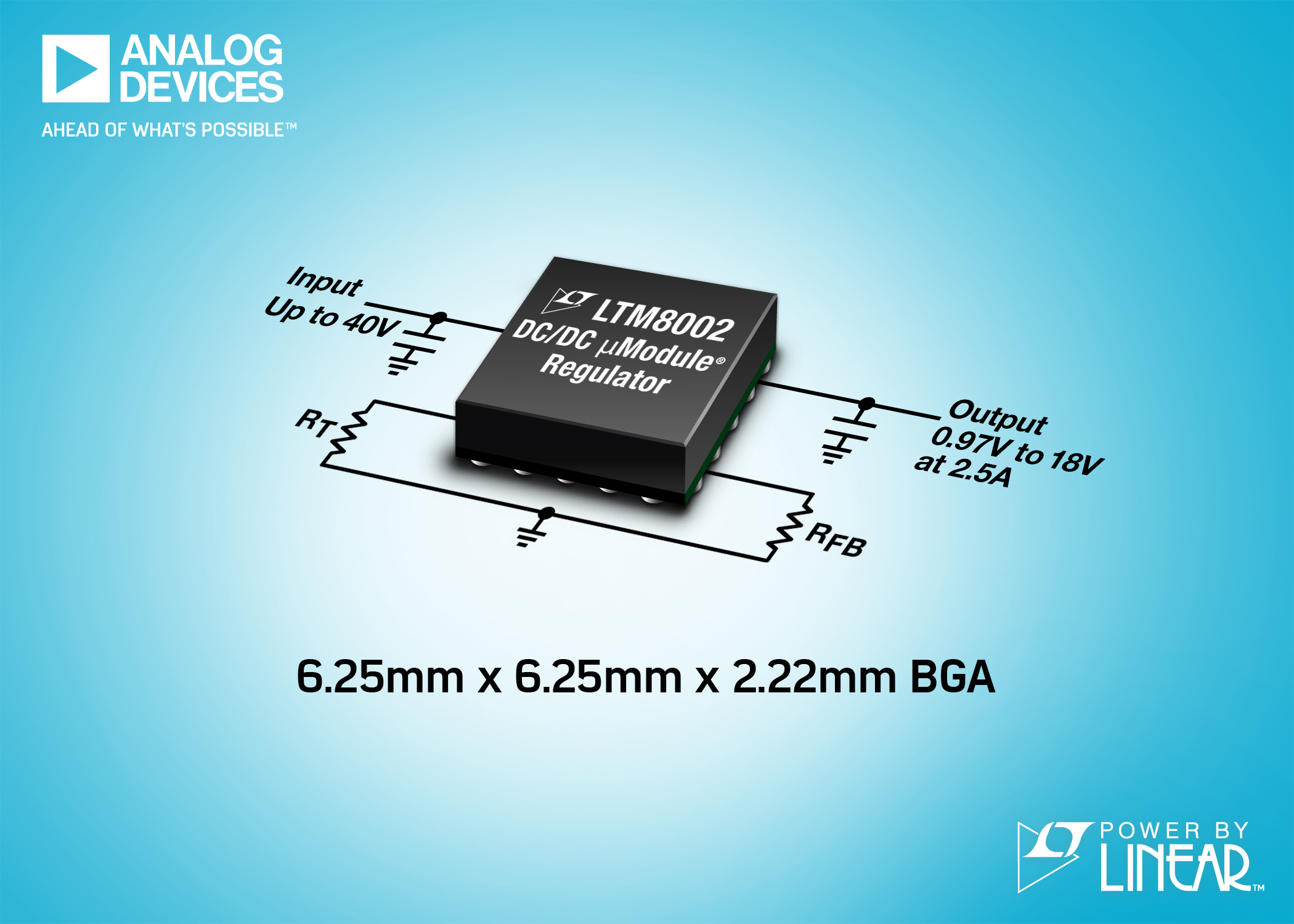 40V, 2.5A ÂμModule Regulator Comes in 6.25mm x 6.25mm BGA Package