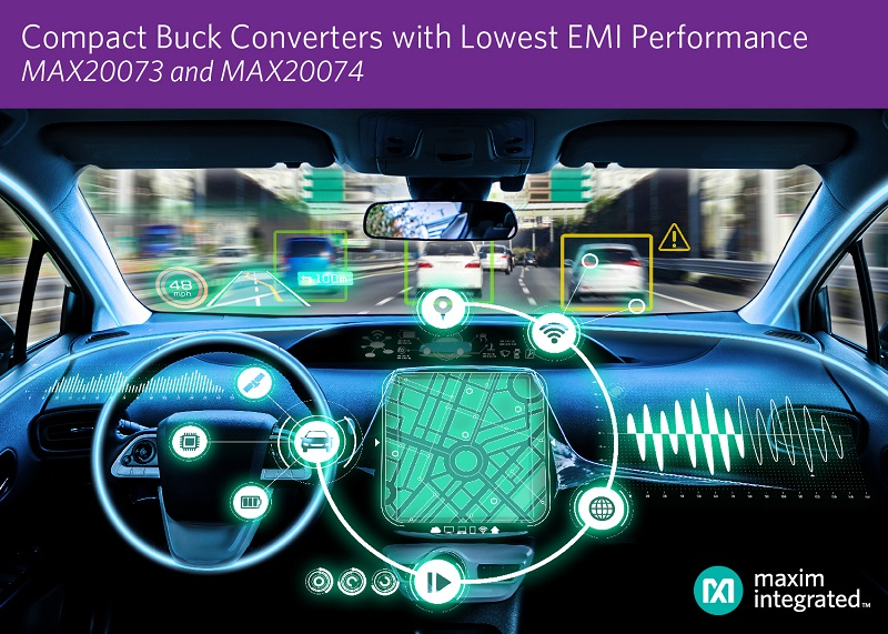 Maxim's Compact Synchronous Buck Converters Provide Industry's Lowest EMI Performance for Automotive Infotainment and ADAS Applications