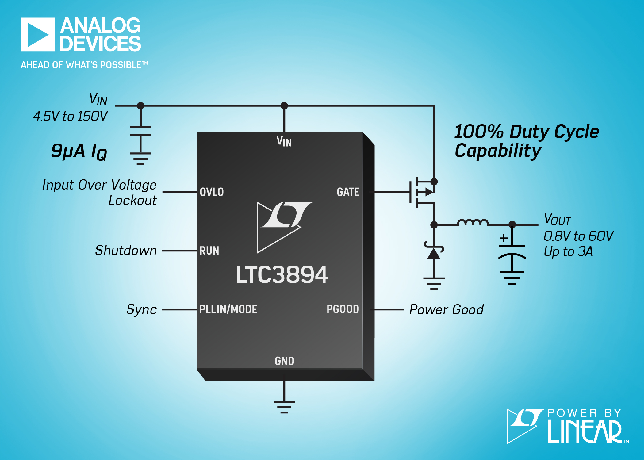 DC/DC Controller Draws Only 9µA in Battery-Powered Systems