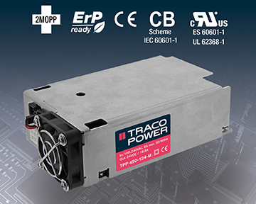 AC/DC Power Supply Offers Full-Load Operation up to 65°C
